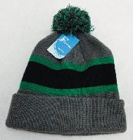 Double-Layer Knitted Hat with PomPom [Black/Green/Gray]